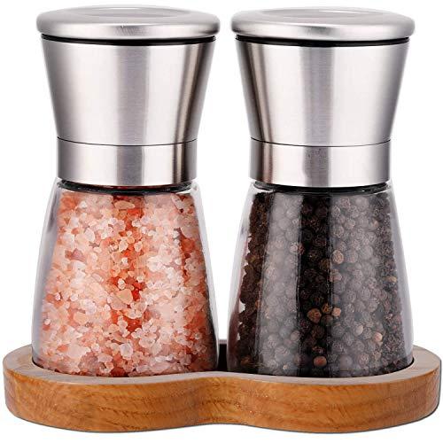 LessMo Gewürzmühle 2er Set mit verstellbarem Keramikmahlwerk - Edle Salzmühle & Pfeffermühle aus hochwertigem Edelstahl - Auch als Chilimühle [Ohne Gewürzinhalt]