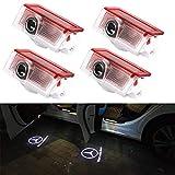 4 Pack Coche Iluminación de la entrada proyector Puerta Logo Light 3D HDCoche Ghost Sombra Logo Puerta Entrada Proyección Luz for GLC GLE GLS GLA A B E Class W212 W166 W176 W205 W246 X164