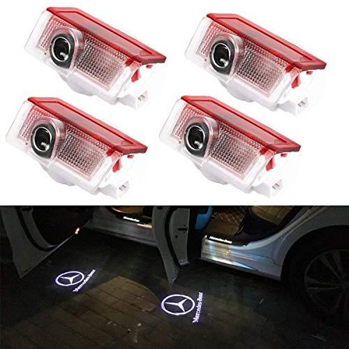 Autotür Logo Licht, 4 Pack Led Auto Projektor Logo Ghost Shadow licht türbeleuchtung Willkommen Lampe for GLC GLE GLS GLA A B E Class W212 W166 W176 W205 W246 X164