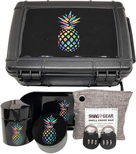 Smell Proof Stash Box Combo - Locking Stash Box Combo - Comes with Grinder Stash Jar and Rolling Tray - Stash Container with Accessories (Pineapple)
