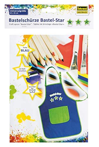 Idena 611055 - Bastelschürze für Kinder mit Klettverschluss, perfekt zum Malen, Basteln, Kochen und Matschen, blau