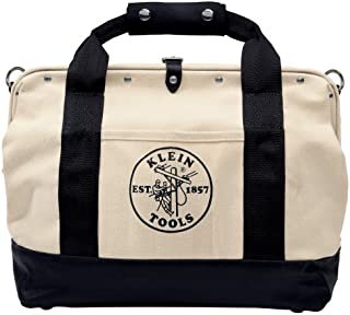 Klein Tools 5003-18 Canvas Tool Bag with Leather Bottom and Wide Openning for Easy Access, 18-Inch
