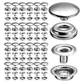 100pcs 15mm Stainless Steel Fastener Snap Press Stud Cap Button Marine Boat Canvas Line 24(4 Components, 25pcs for Each)