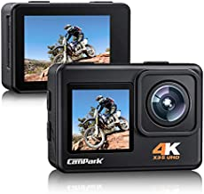 Campark X35 Action Camera 4K 24MP Wi-Fi Underwater Waterproof Camera 40M with Dual Screen, EIS, Sony Sensor, 170° Wide Angle Sports Camera 4X Zoom PC Webcam with 2 Batteries and Mounting Kits