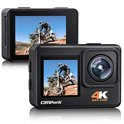 Campark X35 Action Camera 4K 24MP Wi-Fi Underwater Waterproof Camera 40M with Dual Screen, EIS, Sony...