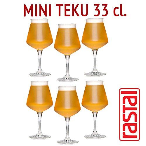 Rastal - set van 6 glazen model MINI TEKU - 33 cl. (11,6 Imp.fl.oz.) - Voor universeel biermonster