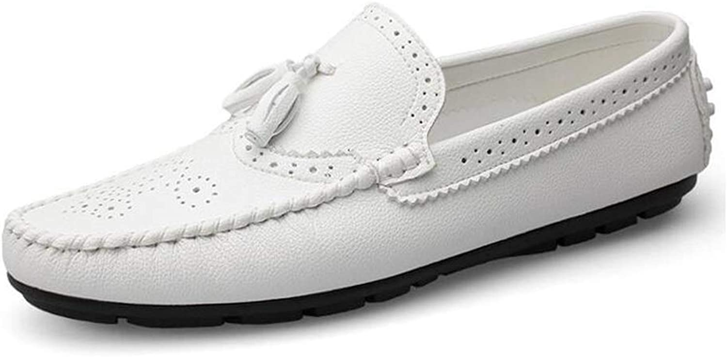 Y-H Men's shoes, 2019 Spring Fall New Light Soles Loafers & Slip-Ons, Soft Sole Flat Slip-Ons Driving shoes, Walking Gym shoes (color   White, Size   43)