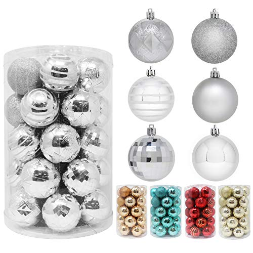 Joiedomi 34 Pcs Christmas Ball Ornaments, Shatterproof Christmas Ornaments for Holidays, Party Decoration, Tree Ornaments, and Special Events (Silver, 2.36')