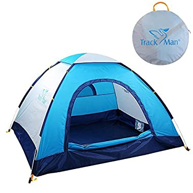 Track Man Camping Automatic Pop Up Tent, Large Door, 3 Person Family Tent with Carry Bag Outdoor Travel