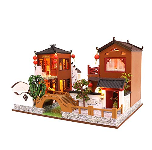 Cool Beans Boutique Miniature DIY Dollhouse Kit Wooden Chinese Villa River Walk with Dust Cover -...