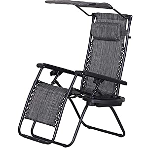 Outsunny Zero Gravity Chair with Side Tray & Canopy Shade - Grey
