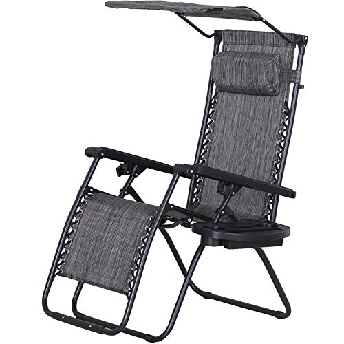 Outsunny Zero Gravity Garden Deck Folding Chair Patio Sun Lounger Reclining Seat with Cup Holder & Canopy Shade - Grey