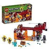 LEGO 21154 Minecraft Die Brücke, Bauset mit Alex-Minifigur, Whiter-Skelett, Lava und Lohefiguren, Minecraft-Nether-Kulisse, Spielzeuge für Kinder - Lego Minecraft
