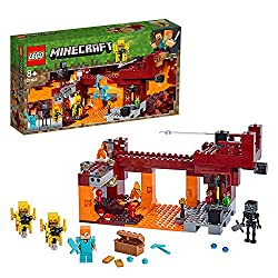 Features a buildable Minecraft Nether setting with a bridge, lava, magma, soul sand, glowstone, gravel and nether quartz blocks Includes an Alex minifigure, wither skeleton, brewing stand, 2 blaze figures with spinning blaze rods, 2 potions and a che...