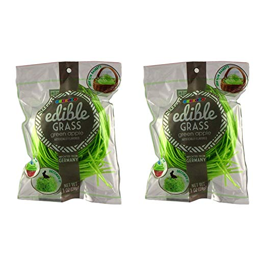 Edible Easter Basket Candy Grass Green Apple, Pack of 2