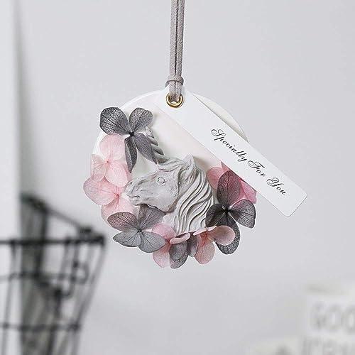Voiture éternelle Fleur Pendaison Bricolage Hortensia Aromathérapie Platre Ins Licorne Fleur Séchée Cadeau Boîte Voiture OrneHommests Cérémonie Danniversaire, Licorne - Poudre De Charbon