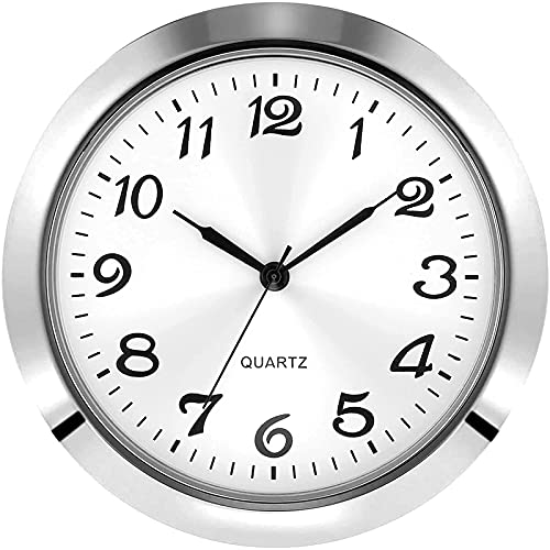 2-1/8 Inch (55 mm) Quartz Clock Insert, Zinc-Alloy Metal Case, Arabic Numeral, White Face