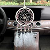 WOW DING Dream Catcher for Cars Rear View Mirror, Car Interior Pendant Charm Boho Hanging Decor Handmade White Feather Festival Gift
