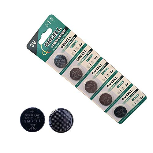 GMCELL CR2025 3V Lithium Battery, CR 2025 Button Cell Batteries Replacement, Equivalent for DL2025, BR2025 (5 Pack)