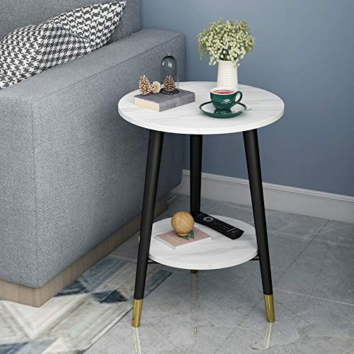 3 Legs Round Side Table with White Marble Tabletop 2-Tier Modern Nightstand with Storage Shelf (White,Black)