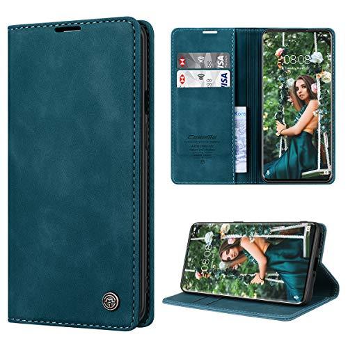RuiPower Handyhülle für OnePlus 8 Pro Hülle Premium Leder PU Flip Hülle Magnetisch Klapphülle Wallet Lederhülle Silikon Bumper Schutzhülle für OnePlus 8 Pro Tasche - Blaugrün