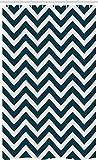 ABAKUHAUS Marine Schmaler Duschvorhang, Zickzack Chevron Blue Lines, Badezimmer Deko Set aus Stoff mit Haken, 120 x 180 cm, Marineblau & Weiß