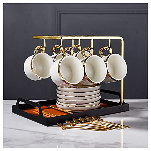 liushop Coffee Mug Exquisite Coffee Cup Set European Luxury Cup With Gold Rim Ceramic Mug With Handle Home Afternoon Tea Set, for Family and Friends Exquisite coffee cup (Color : B)