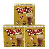 Twix Pods - Juego de 3 cápsulas de café, para Bebidas de Cacao, Bebidas de Chocolate, Cerrojo, Compatible con Dolce Gusto, 3 x 8 cápsulas