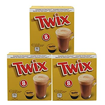 Twix Pods Drink Powder Set of 3 Cocoa Drink Chocolate Drink Bar Dolce Gusto Compatible Coffee Capsules 3 x 8 Capsules