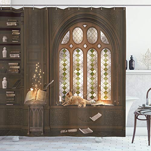 """Ambesonne Gothic Shower Curtain, Room for Study in The Medieval Library with Cat Sleeping on The Window Antique Mansion, Cloth Fabric Bathroom Decor Set with Hooks, 75"""" Long, Taupe"""
