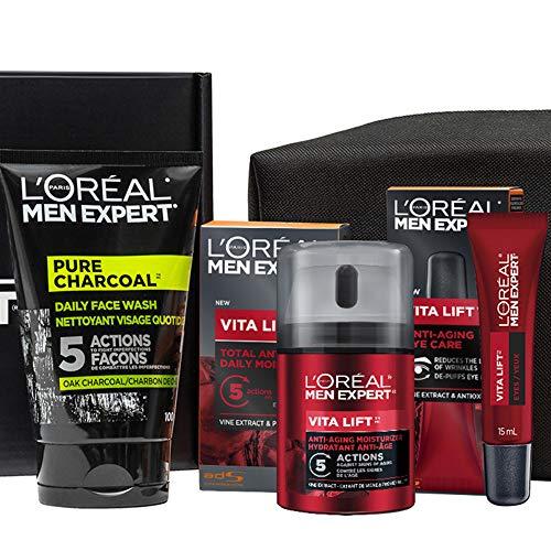L'Oreal Paris Men Expert Vita Lift Kit, Pure Charcoal Face Wash, Anti Aging Face Cream With Pro Retinol + French...