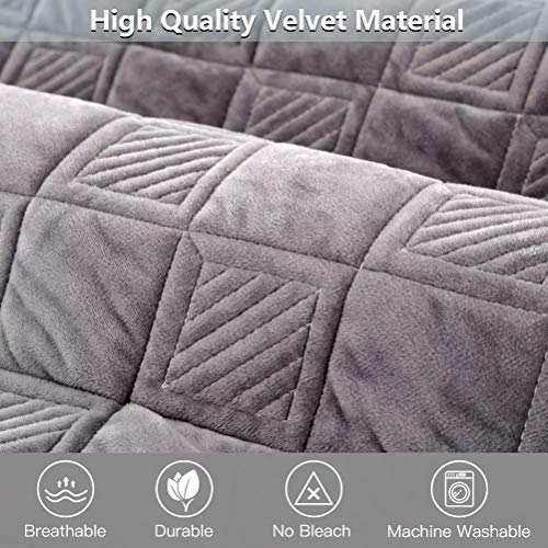 Deep Dream Sectional Sofa Covers, Velvet Sofa Slipcover Furniture Protector Anti-Slip Couch Covers for Dogs Cats Kids Christmas 28 x 59 Inch - Dark Grey (Sold by Piece/Not All Set)