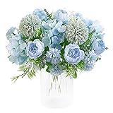 KIRIFLY - Ramo de hortensias artificiales de seda de peonía artificial, decoración de claveles de plástico, arreglos de flores realistas para decoración de bodas, centros de mesa, 2 paquetes