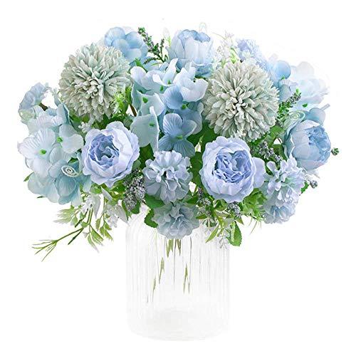 KIRIFLY Künstliche Blumen,Unechte Blumen Deko Künstlich Pfingstrose Gefälschte Seide Hortensien Dekoration Plastik Nelken Blumenarrangements Hochzeit Blumenstrauß Seidenblumen Tisch-Mittelstücke(Blau)