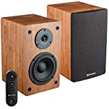 Knox Gear LP1 Powered Bookshelf Speaker with Bluetooth -30 Watt x 2-2.0 Stereo Studio Monitor Speaker with Wood Finish - 4 inch Paper Cone Woofer