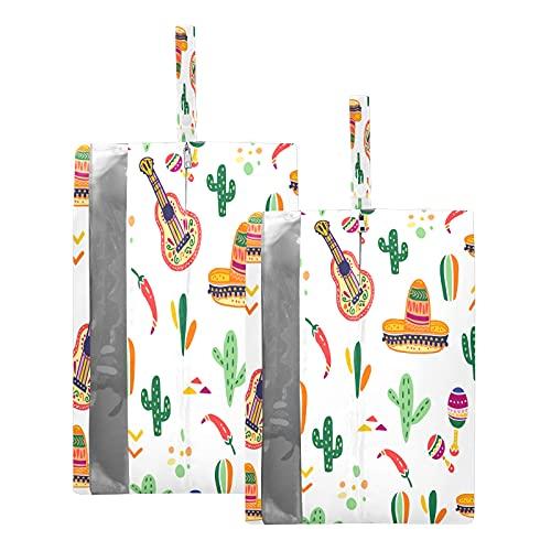 Hunihuni - Bolsa de viaje para zapatos con cremallera, impermeable, para guitarra de cactus, bolsa organizadora de zapatos con cremallera, 2 unidades