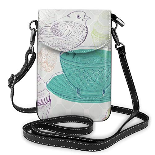 Vrouwen Small Cell Phone Purse Crossbody, Floral Elements en een leuke Bird In Pale Colored Engels Tradition Nature Image
