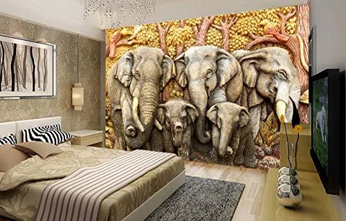 MUNXIN Wallpaper Papel Pintado 3D Elefante De Estilo De Alivio Papel Pintado Pared Moderno Dormitorio Fotomurales Decorativos Pared