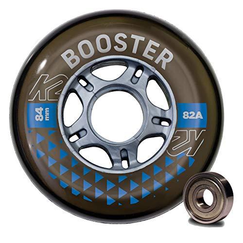 K2 Skates Unisex– Erwachsene Rollen mit Kugellager Booster 84 MM 82A 8-Wheel Pack W ILQ 7 — Black — 84mm — 30F3010
