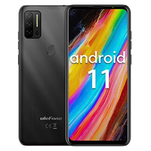 Telefono movil Ulefone Note 11P Android 11 teléfono móvil 6.55', 8GB + 128GB, 4400mAh Baratos Smartphone, cámara 48MP + 8MP + cámara 2MP, Ranura para 3 Tarjetas, Huella Digital, 4G Dual SIM (Negro)