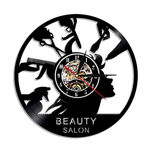 wwwff Salón de Belleza Tienda Decoración Maquillaje Reloj de Pared Hecho de Vinilo Disco Peluquería Reloj de Pared Moderno Cabello Salonv Regalos para peluqueros