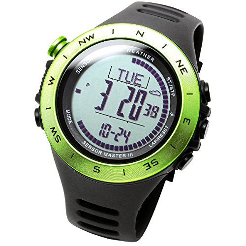 LAD-WEATHER Swiss Sensor Watch Altimeter Barometer Compass Climbing Trekking Camping Sports Outdoor Watches (Green Grey)
