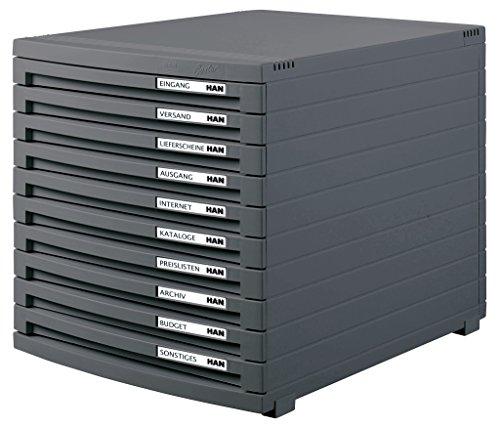 HAN Schubladenbox CONTUR – modernes und modular erweiterbares Schubladensystem, mit 10 geschlossenen Schubladen bis Format DIN B4, dunkelgrau, 1510-191