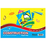 """BAZIC 16 Sheets 18"""" X 12"""" Construction Paper Pad, Assorted Colors Great for Draw Cut Glue Fold, Gift for Toddler Kids Classrooms School Home DIY Projects, 1-Pack"""