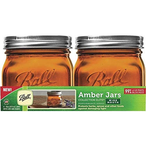 Ball AMBER Farbe GLASS MASON Jar WIDE Mund 473ML / 1-PINT / 16-OZ, 4-PACK mit Rezeptbuch