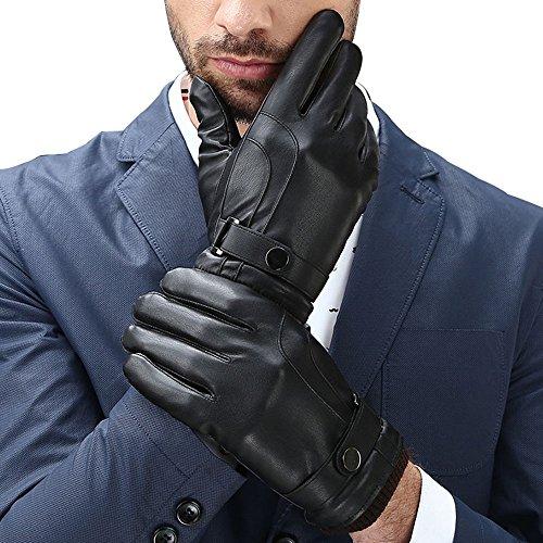 T-GOTING Herren Touchscreen gefüttert PU Kunstleder Winter Driving Handschuhe - - Einheitsgröße
