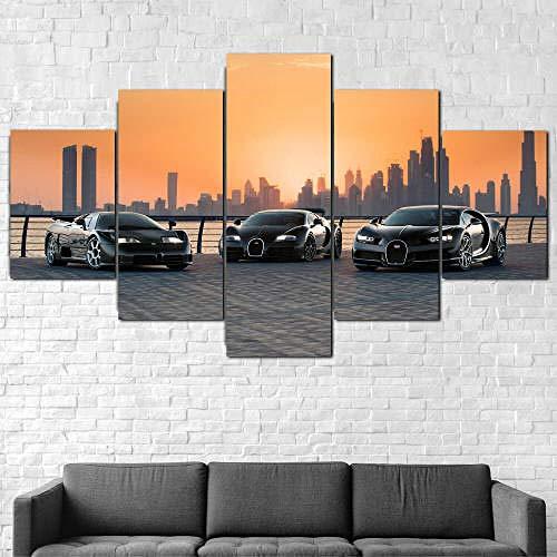 TOPRUN Cuadros Decoracion Salon Modernos 5 Piezas Lienzo Bugatti Reunite Dubai Cars HD Abstracta Pared Modulares Sala De Estar Impresión Artística Dormitorios Decoración De Pared Póster