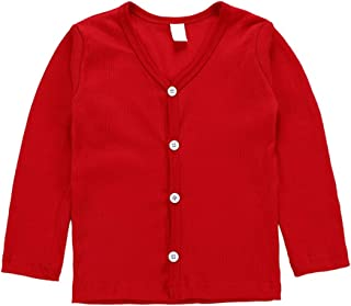 Karuedoo Little Baby Girls Crew Neck Button-Down Solid Knit Cardigan Sweaters Long Sleeve Soft Basic Knit Snap Jacket