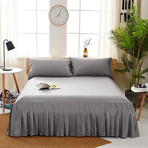 DUJUN Einfarbige waschbar Polyester Bett Rock für Schlafzimmer elastische Einfarbig Bett Rock Einzelbettbezug, Schleifbett Set Doppelbett Einzel, Matratzenbezug grau 200 * 220cm + 40cm
