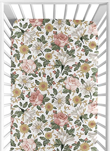 Sweet Jojo Designs Vintage Floral Boho Girl Fitted Crib Sheet Baby or Toddler Bed Nursery – Blush Pink, Yellow, Green and White Shabby Chic Rose Flower Farmhouse